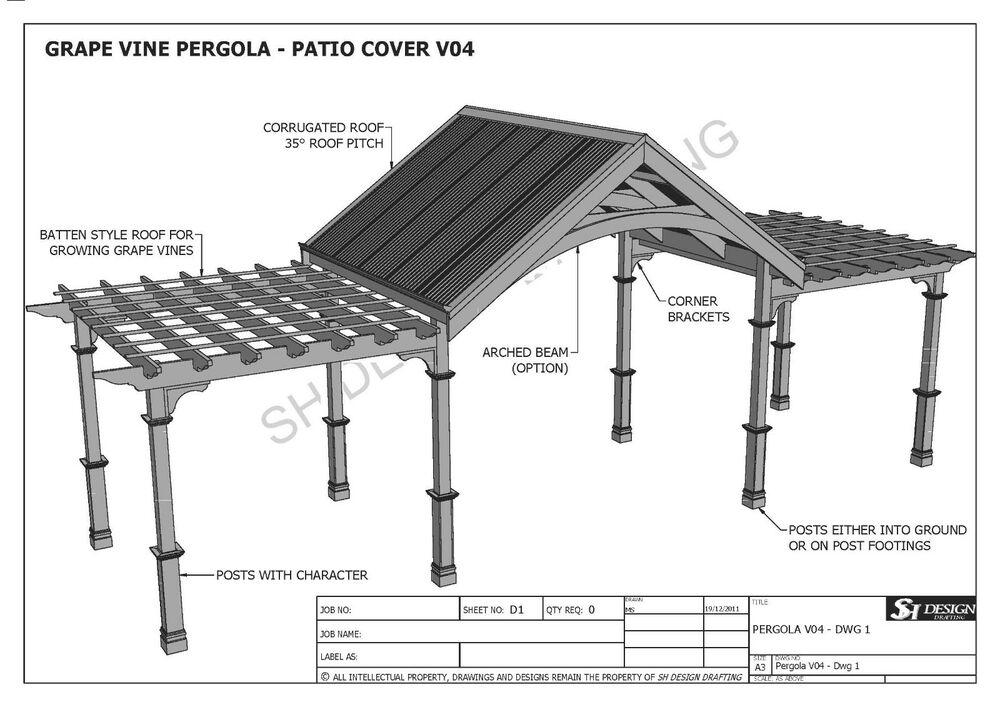 Grape Vine Outdoor Pergola Patio Cover Veranda V4 Full