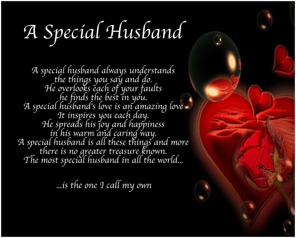 Personalised A Special Husband Poem Valentines Birthday Christmas Gift Present EBay