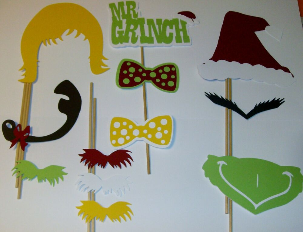 12 Pcs DIY Photo Booth Props Mr Grinch Christmas December