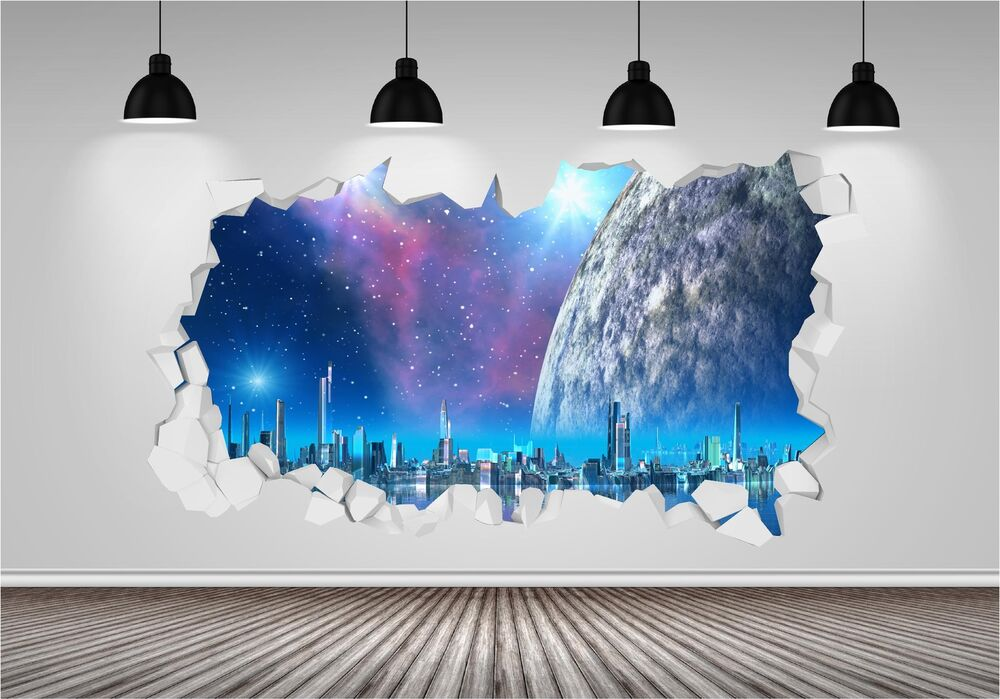 Space Fantasy Galaxy Stars Brick Crack Wall 3D Wall Art Sticker Decal Transfer eBay