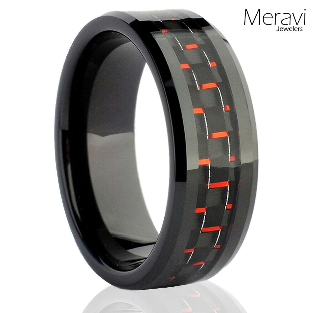 Black Tungsten Carbide Mens Jewelry Red Carbon Fiber