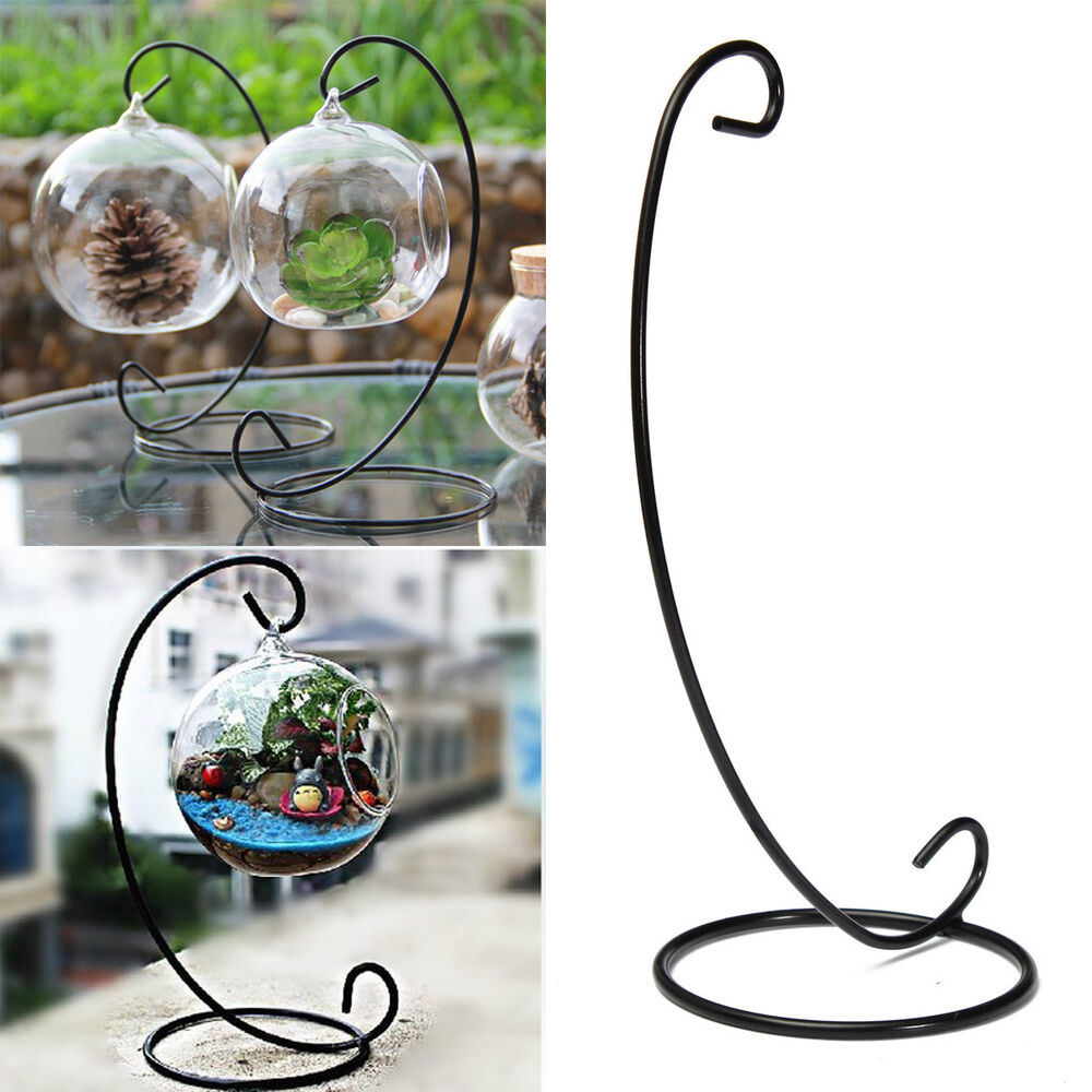 Black Metal Iron Stand Holder For Hanging Plant Pot Plant ... on Hanging Stand For Plants  id=28648
