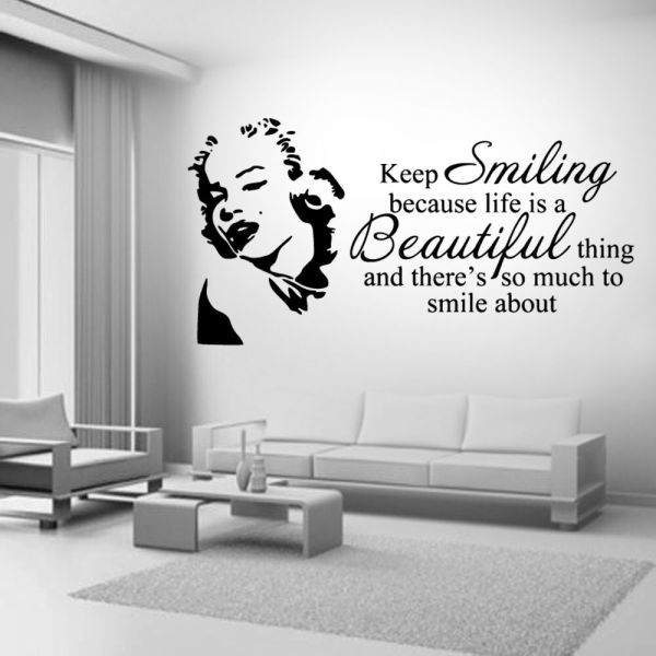 Marilyn Monroe Smiling Life Quote Wall Stickers Art Room ...