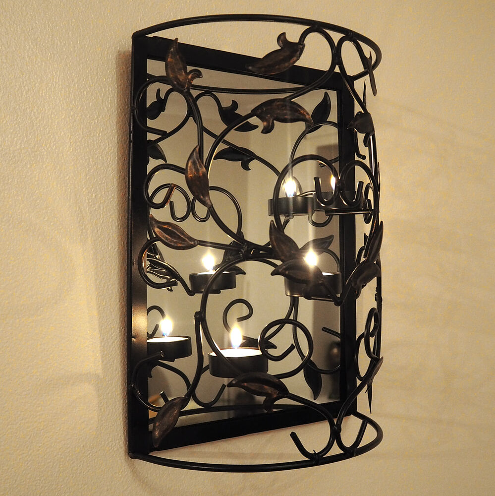 Wall Mounted Metal Candle Holder with Mirror/Sconce/Shabby ... on Wall Mounted Candle Sconce id=71510