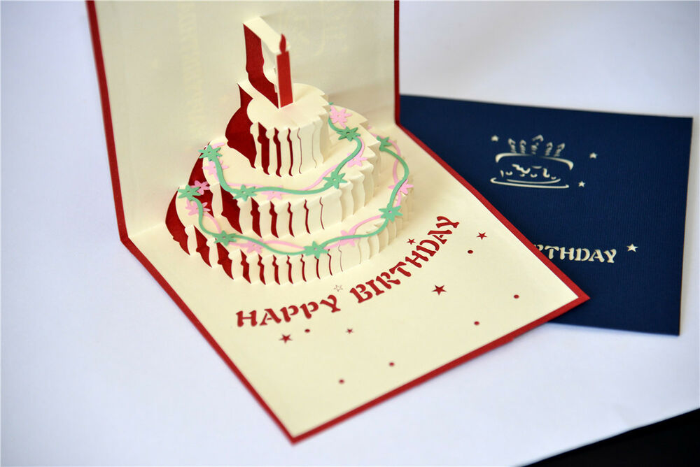Handmade 3D Pop Up Happy Birthday Cake With Candle Card EBay