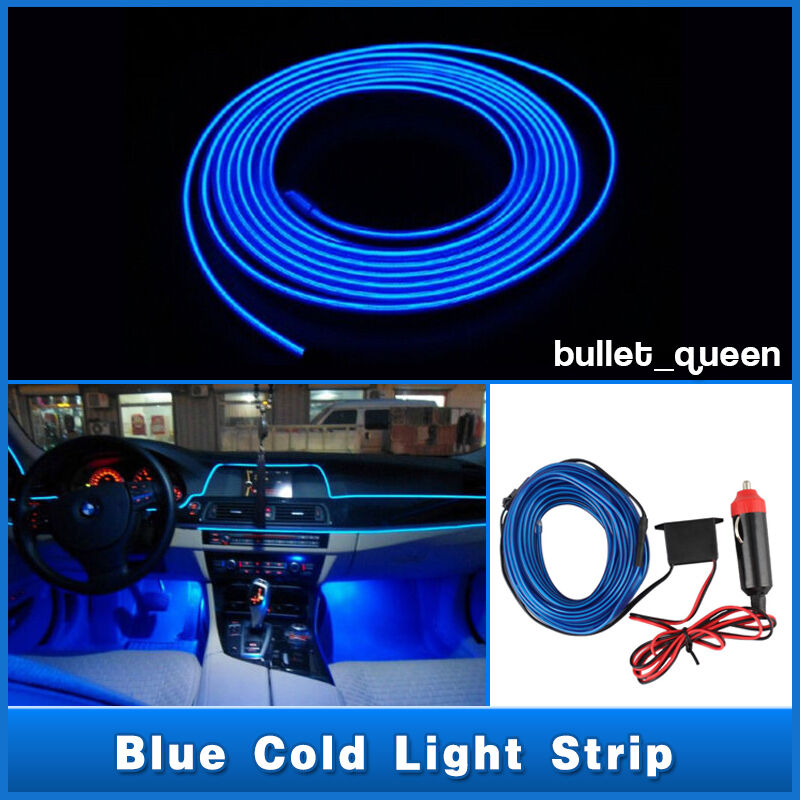 3M Blue EL Wire 12V Car Interior Decor Fluorescent Neon