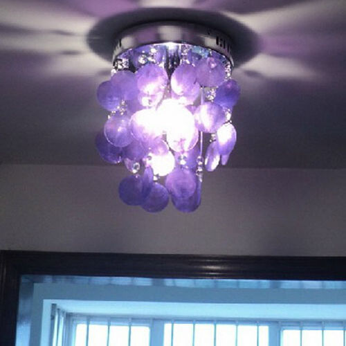 Purple Crystal Shell Chandelier Ceiling Light Lamp Fixture