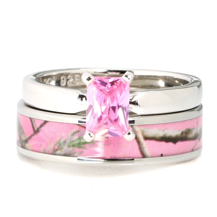 Pink Camo Stainless Steel Band 925 Sterling Silver