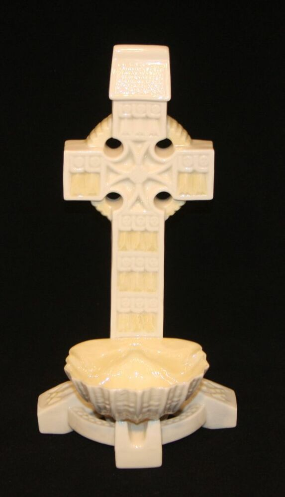 Belleek Ireland Parian China 12 Inch Large Tabletop Celtic Cross Holy Water Font EBay