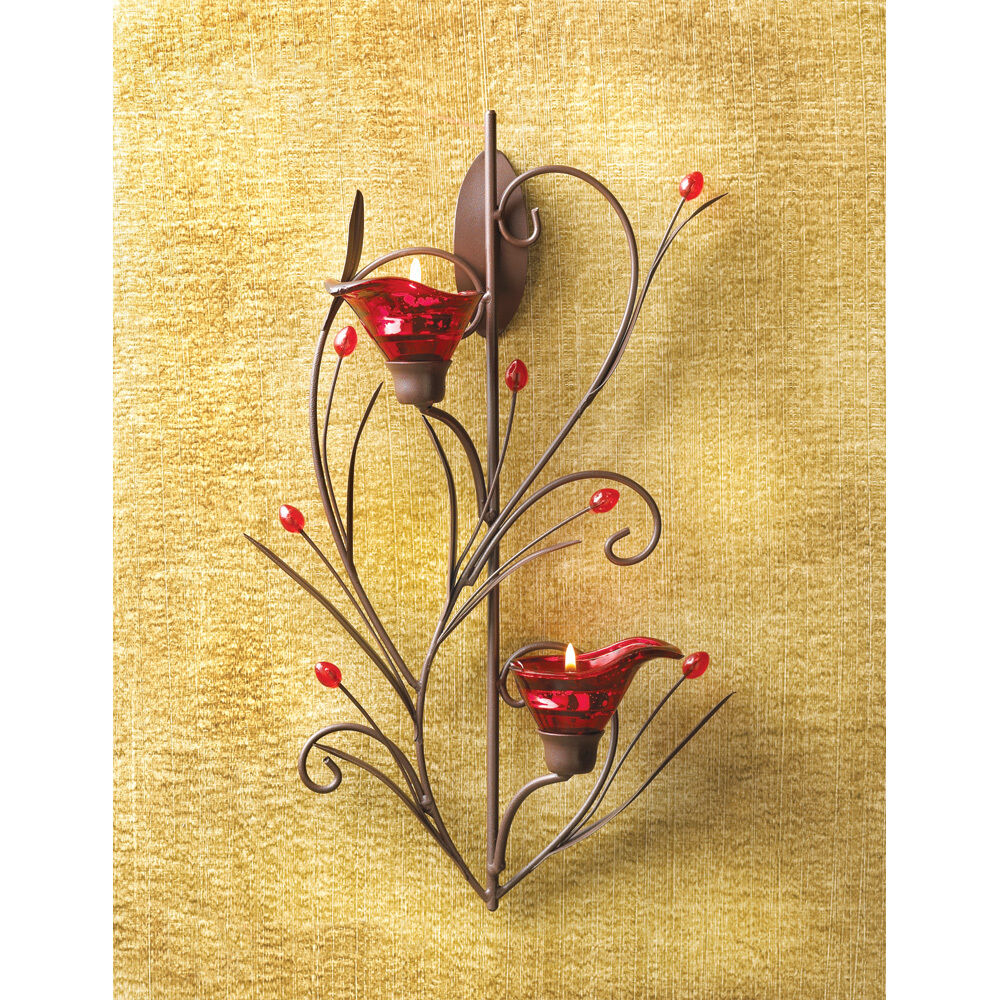 RUBY BLOSSOM TEALIGHT CANDLE HOLDER WALL SCONCE DECOR ... on Decorative Wall Sconces Candle Holders Centerpieces Ebay id=29727