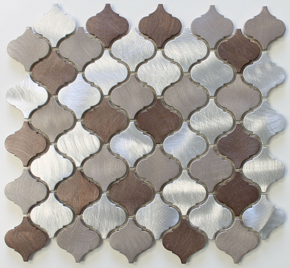 Casablanca Brushed Aluminum Arabesque Mosaic Tiles