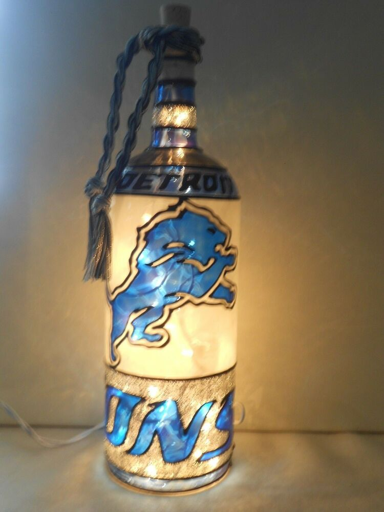 Detroit Lions Inspired Wine Bottle Lamp Hand Painted