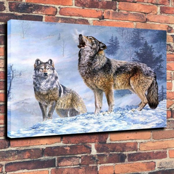 Large Canvas Prints Oil Painting Wolf Song Winter Snow ...