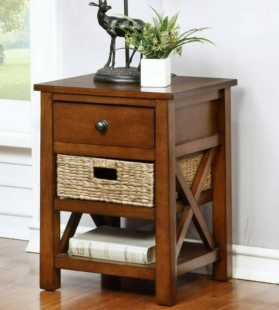 EHemco X End Table With 2 Shelves And Drawer With 1 Basket