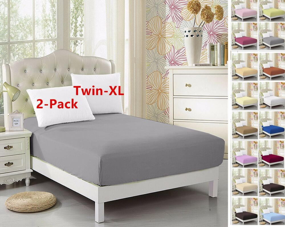 2 Pack Twin Xl Fitted Sheet For Split King Amp Dorm Bed 39