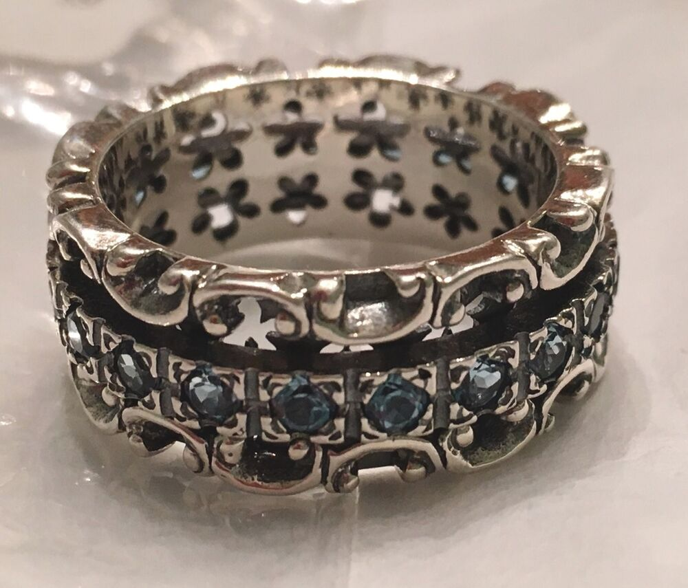 NWT OR PAZ STERLING SILVER 925 LACE DESIGN BLUE TOPAZ