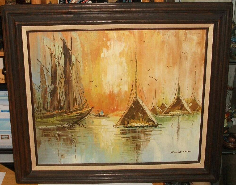 H MONER CHINESE SAIL BOAT HOUSES AT SEA ORIGINAL OIL ON CANVAS PAINTING EBay