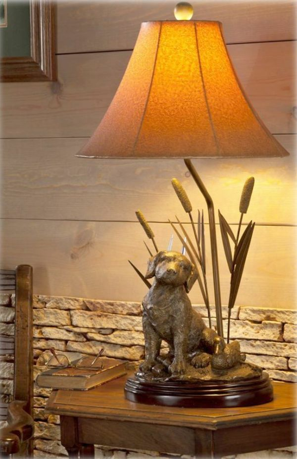 Labrador Dog Decoy Duck & Cattail Table Lamp Hunting Lab ...