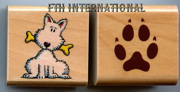 Dog & Dog Paw ~ 2 piece StampCraft Wood Mount Rubber Stamp ...