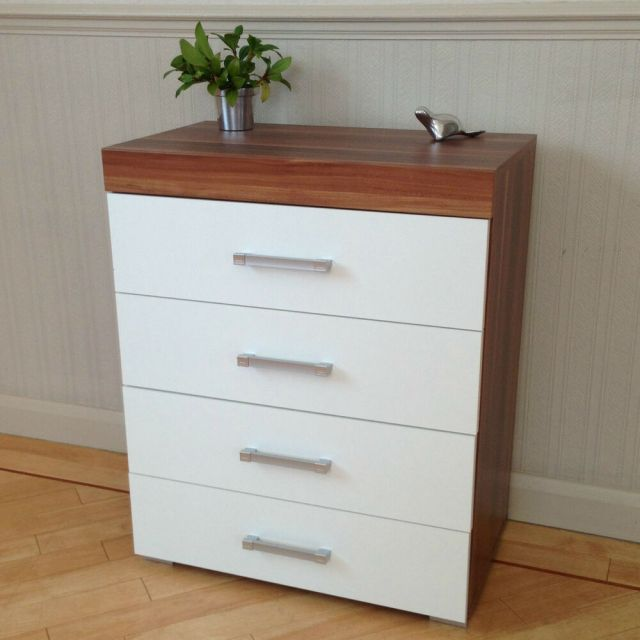 Chest of 4 Drawers in White & Walnut Bedroom Furniture ...