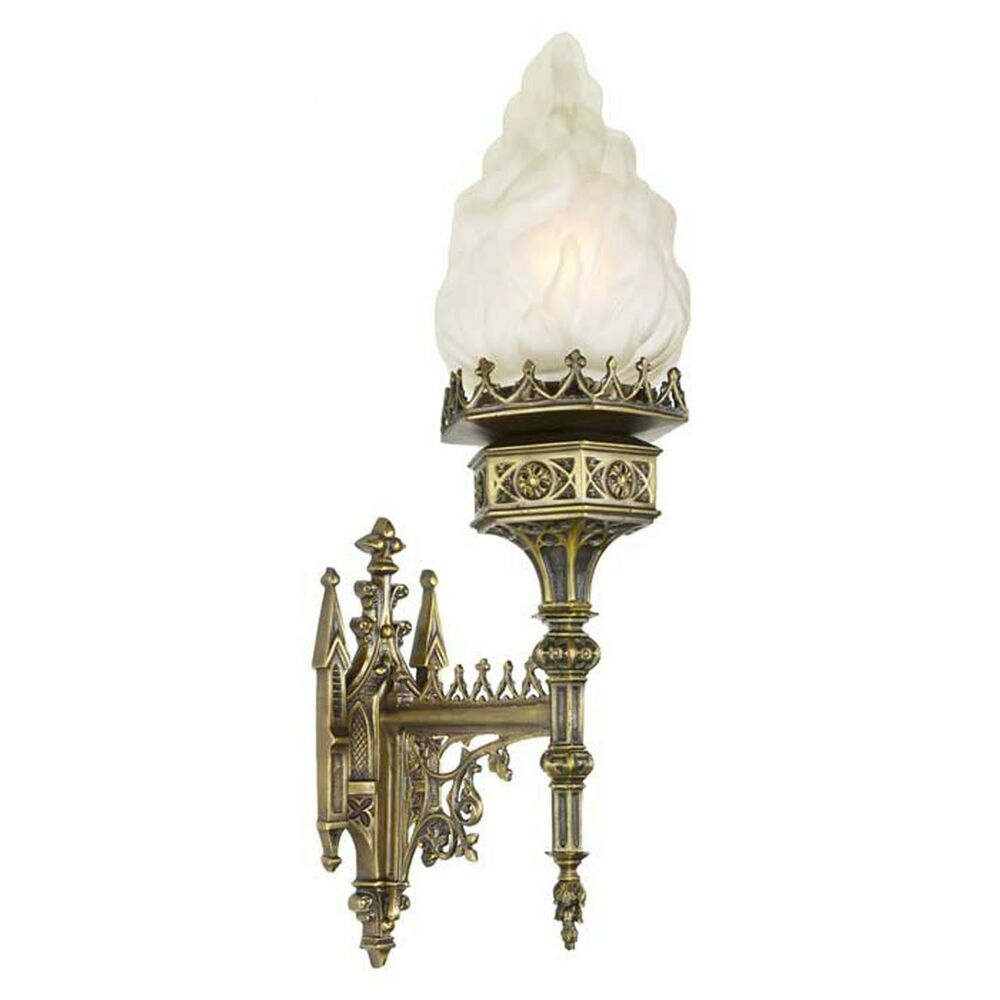 Large Gothic Victorian Medieval Style Flame Shade Wall ... on Victorian Wall Sconces id=83202