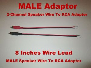 2  Channel Speaker Wire To RCA Adapter Car Amp Receiver Powered Speakers Male | eBay