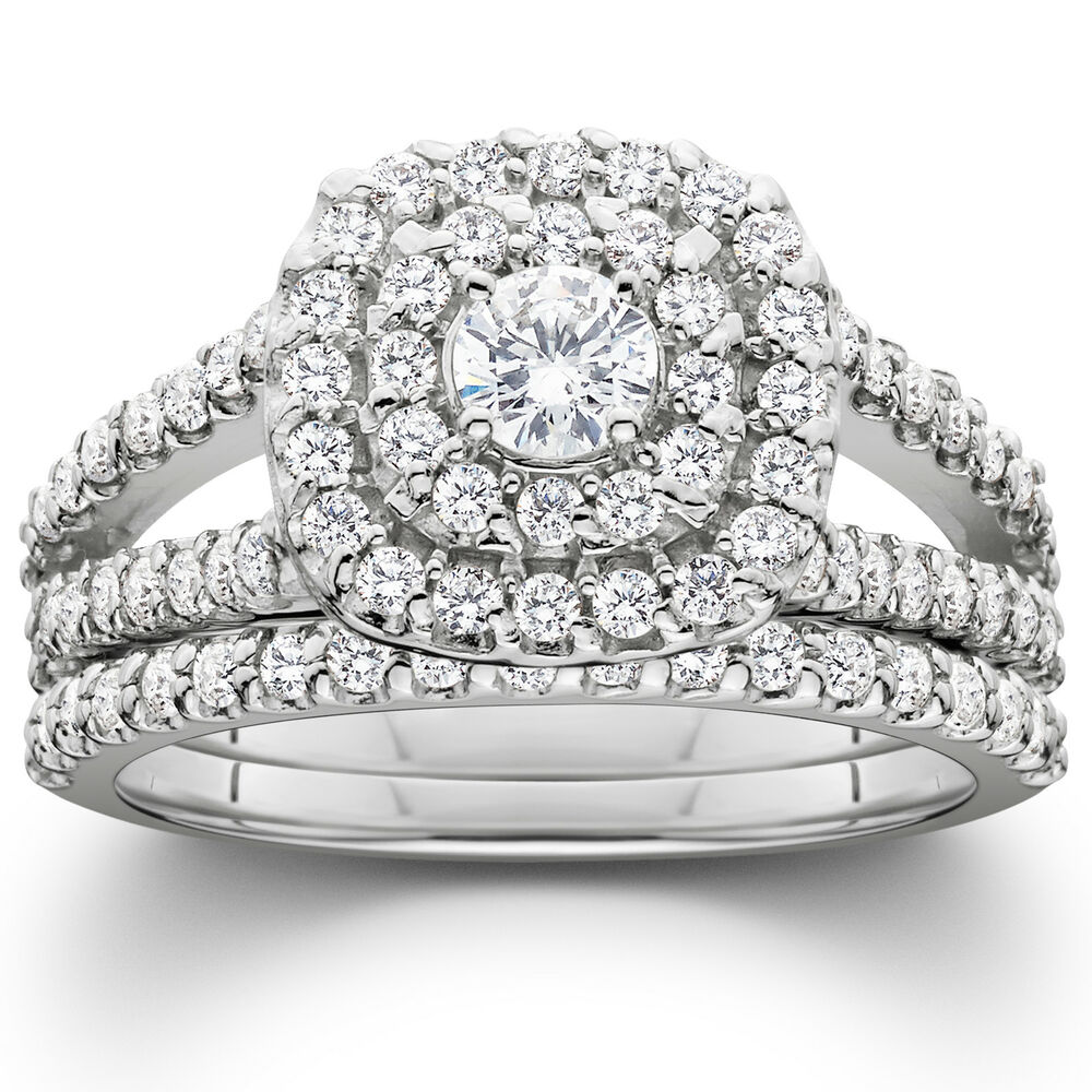 1 110ct Cushion Halo Diamond Engagement Wedding Ring Set