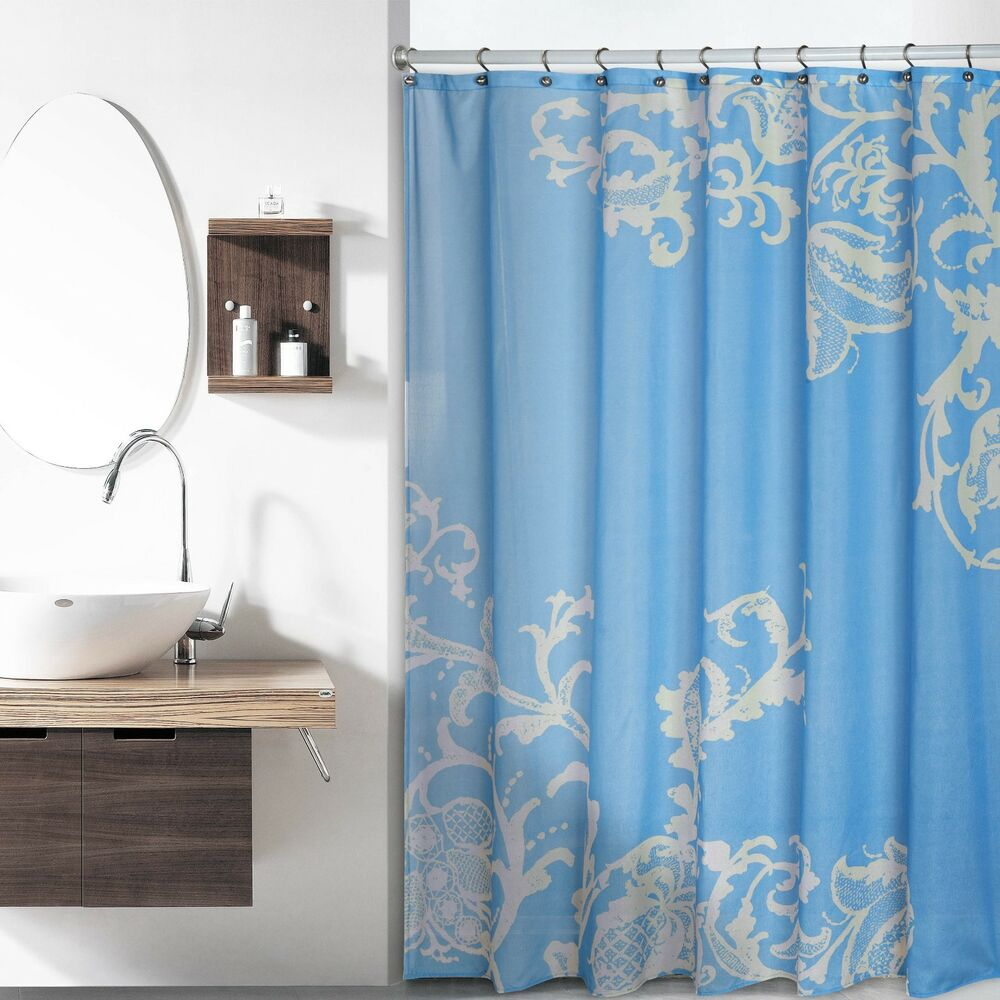 Blue Luxury Fabric Shower Curtain With Beige Floral Pattern EBay