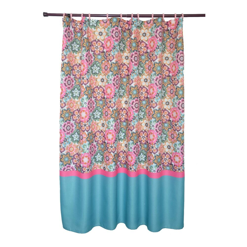 Waffle Texture Folk Multi Colored Bright Floral Pattern Shower Curtain 7372648721320 EBay