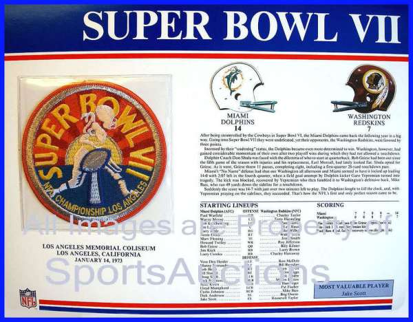 SUPER BOWL 7 Dolphins Redskins 1973 Willabee Ward OFFICIAL ...