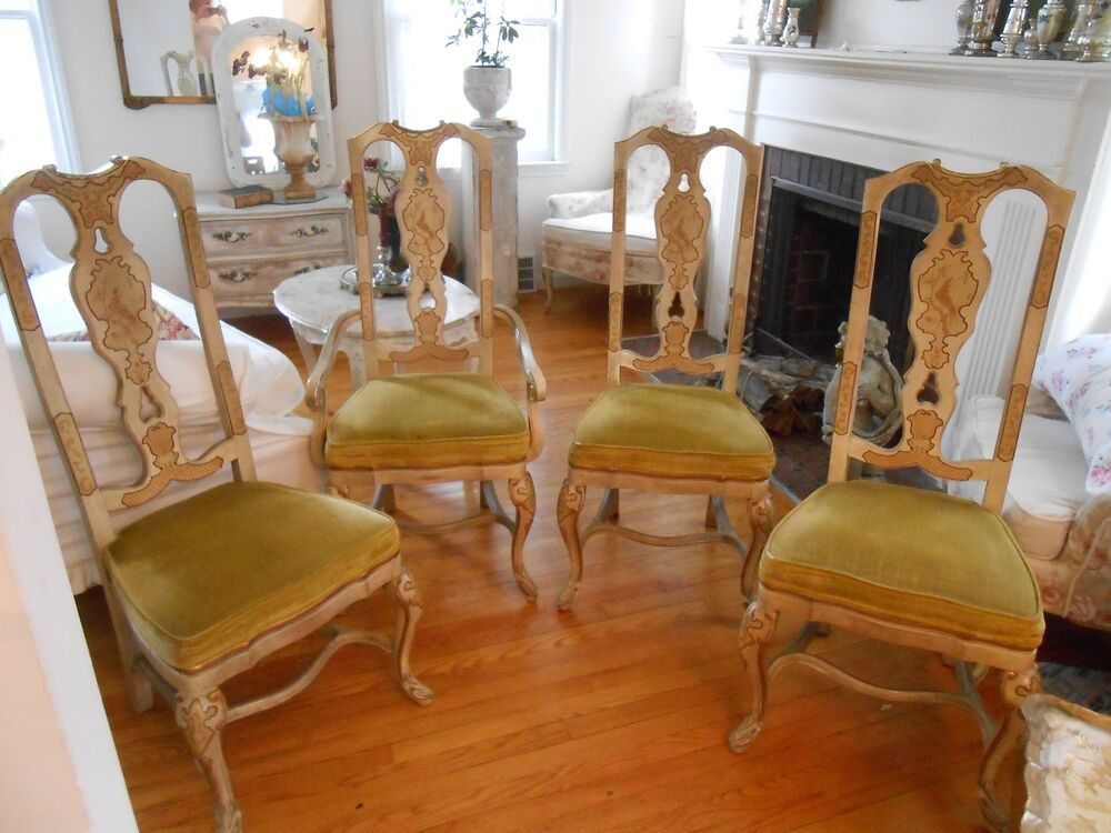 Set Of 4 Vintage Drexel Heritage Hand Painted Chinoiserie