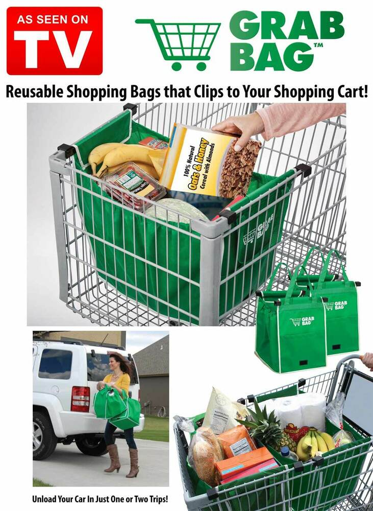 GRAB BAG Clip To Cart Reusable Shopping Grocery Bag As