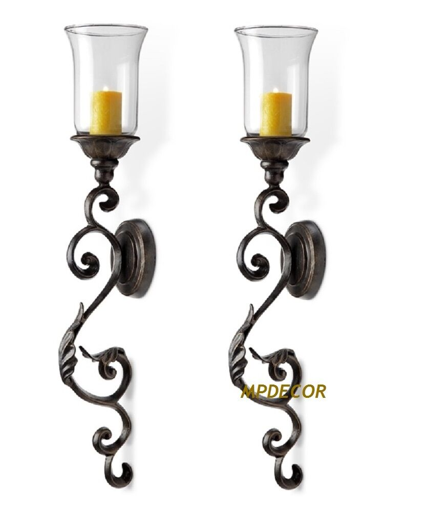 Tuscan Scroll & Leaf Wall Sconce Candleholder Hurricane ... on Wall Sconces Candle Holders id=37656