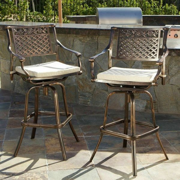 outdoor patio swivel bar stools Set of 2 Outdoor Patio Furniture Cast Aluminum Swivel Bar