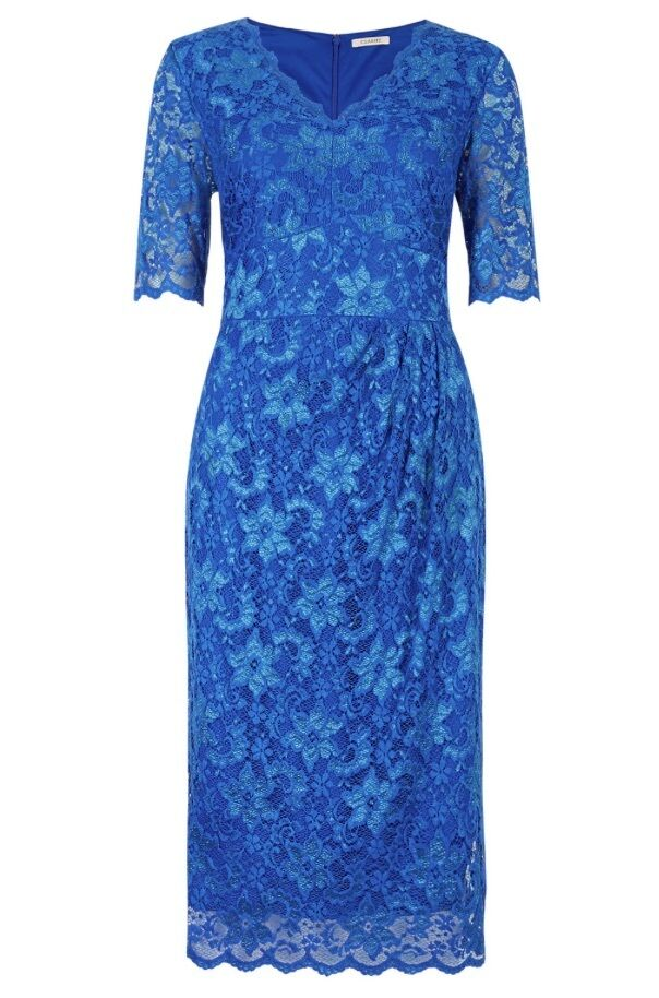 MARKS AND SPENCER TWIGGY ROYAL BLUE FLORAL ALL OVER LACE DRESS SIZE 8 To 22 EBay