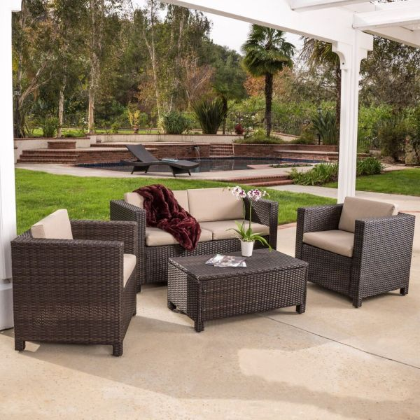 outdoor wicker rattan patio furniture Outdoor Patio Furniture Brown PE Wicker 4pcs Sofa Seating
