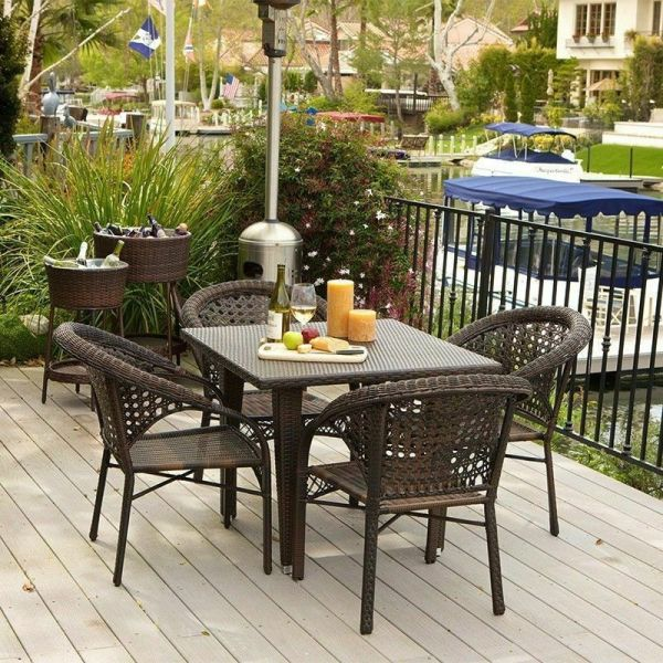 outdoor wicker furniture 5 piece patio set (5-Piece Set) Outdoor Patio Furniture Brown All-weather