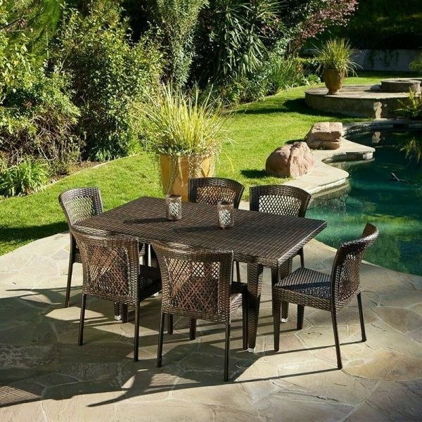 outdoor wicker patio furniture dining sets (7-Piece) Outdoor Patio Furniture Brown All-Weather Wicker