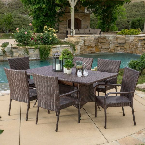 outdoor patio furniture Outdoor Patio Furniture 7pc Multibrown All-Weather Wicker