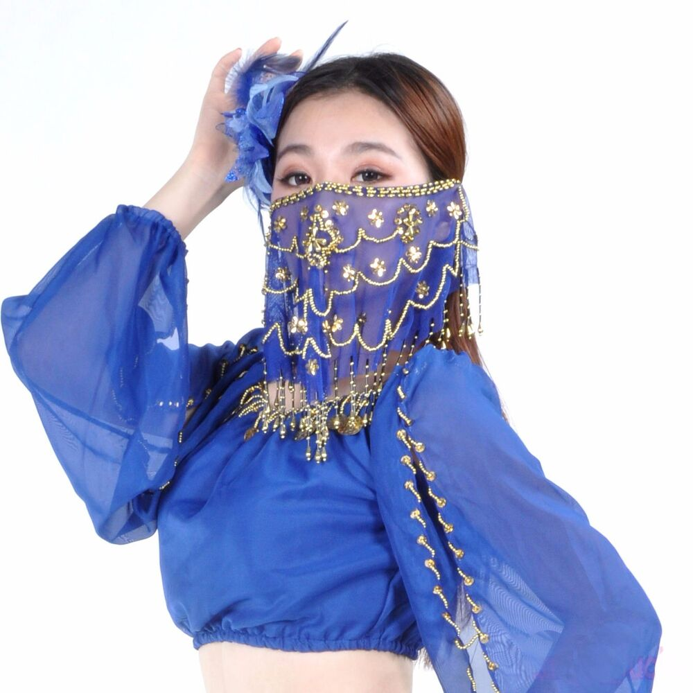 Indian Embroidery Face Veil Belly Dance Costumes Head ...