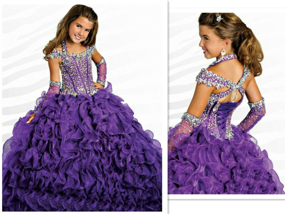 Custom Girl Kids Pageant Party Princess Ball Gown Prom