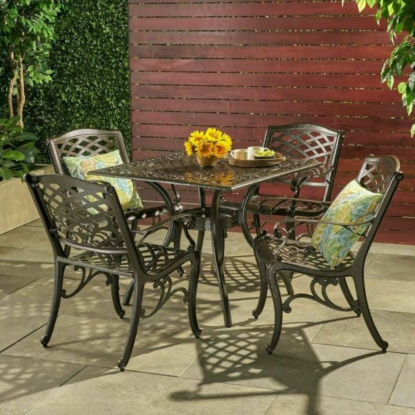 outdoor patio dining sets Outdoor 5-piece Cast Aluminum Square Bronze Dining Set | eBay