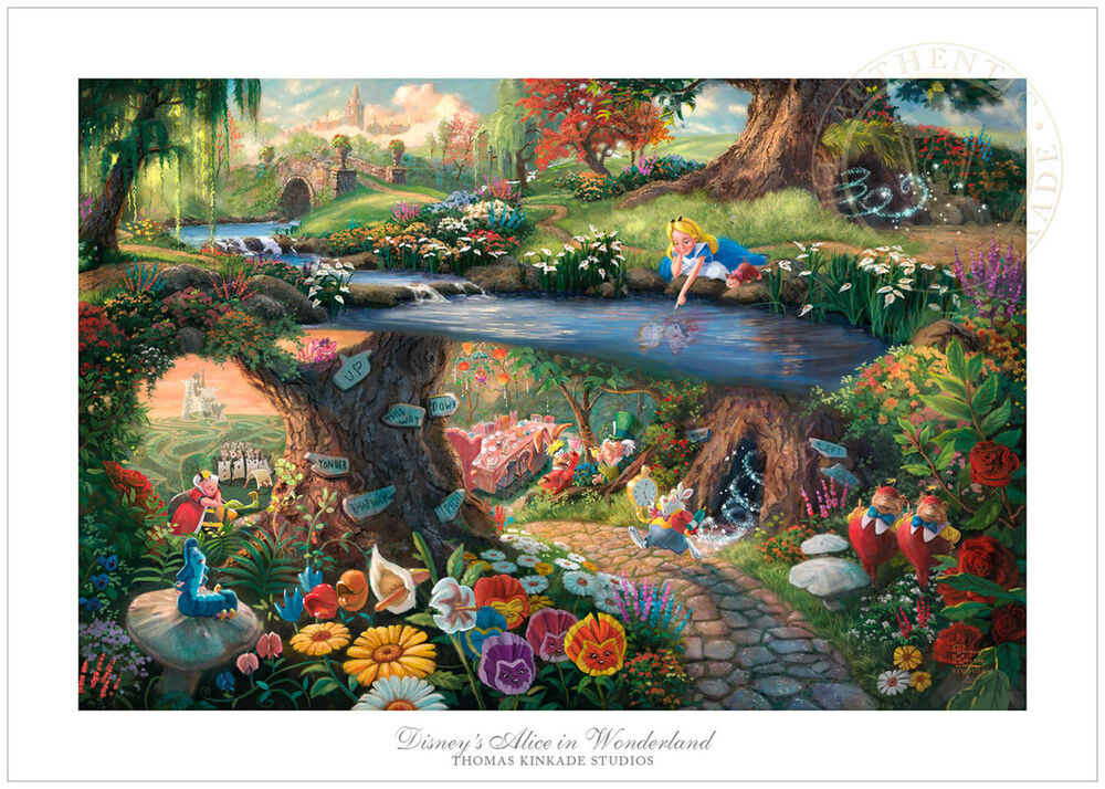 Thomas Kinkade Disney Alice In Wonderland 12x18 SN