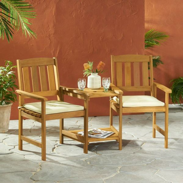 outdoor patio chairs Outdoor Wood Adjoining 2-Seater Chairs with Cushions | eBay