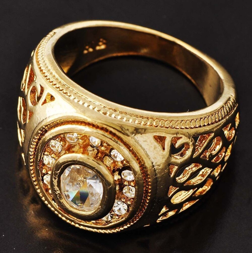 Wedding Impressive Mens Yellow Gold Filled Clear CZ Ring