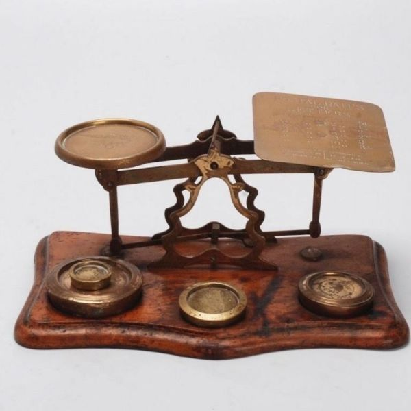 ANTIQUE BRITISH BRASS AND OAK POSTAL SCALE WITH WEIGHTS | eBay
