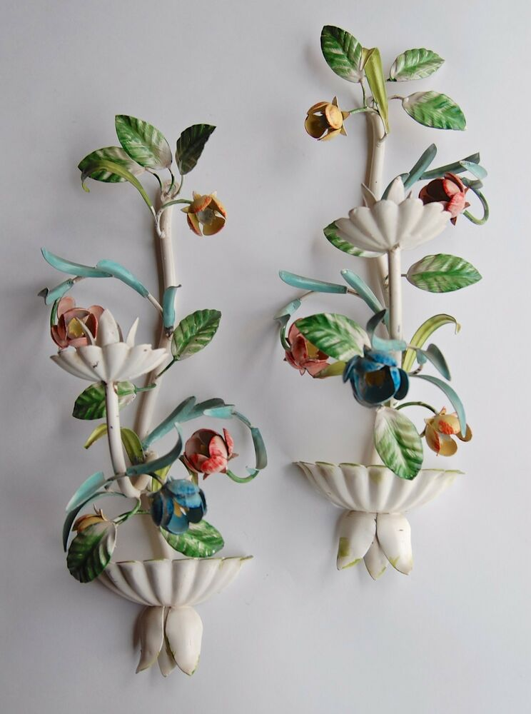 ANTIQUE VTG ITALIAN METAL TOLE LEAVES & FLOWERS SCONCE ... on Candle Wall Sconces With Flowers id=27704