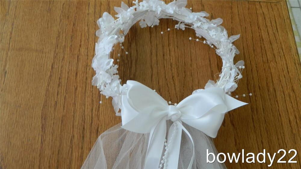 First Communion Wreath Veil With White Satin Bow Ribbon