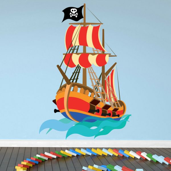 Pirate Wall Sticker Pirate Ship Wall Decal Kids Boys ...