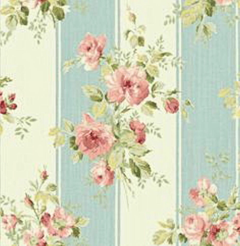 Dollhouse Miniature Shabby Chic Wallpaper Pink Roses Blue
